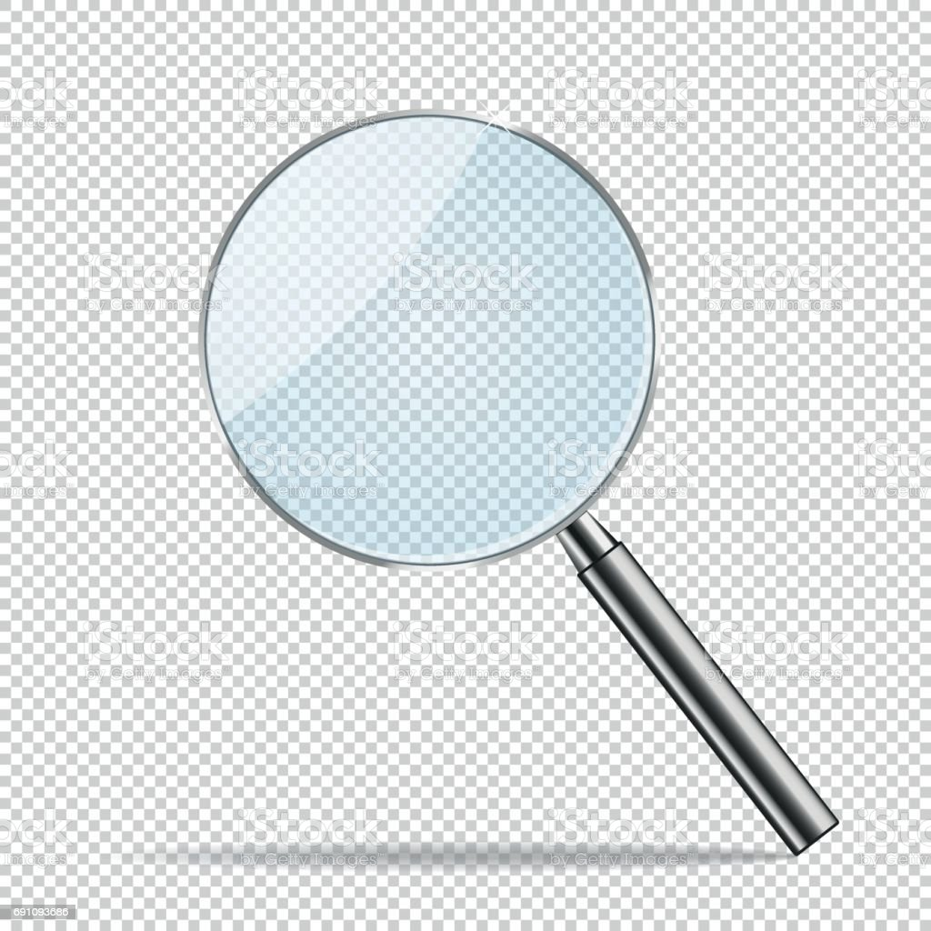 Magnifier transparent realistic vector. Magnifying vector art illustration