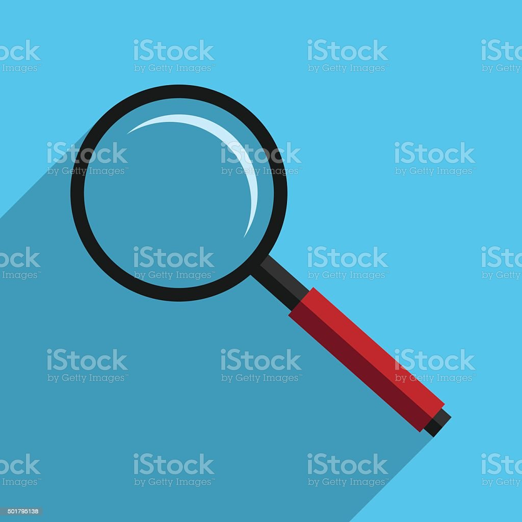 Magnifier with long shadow vector art illustration