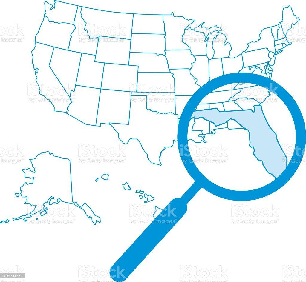 Magnify Florida Map Stock Vector Art  IStock - Florida map vector free