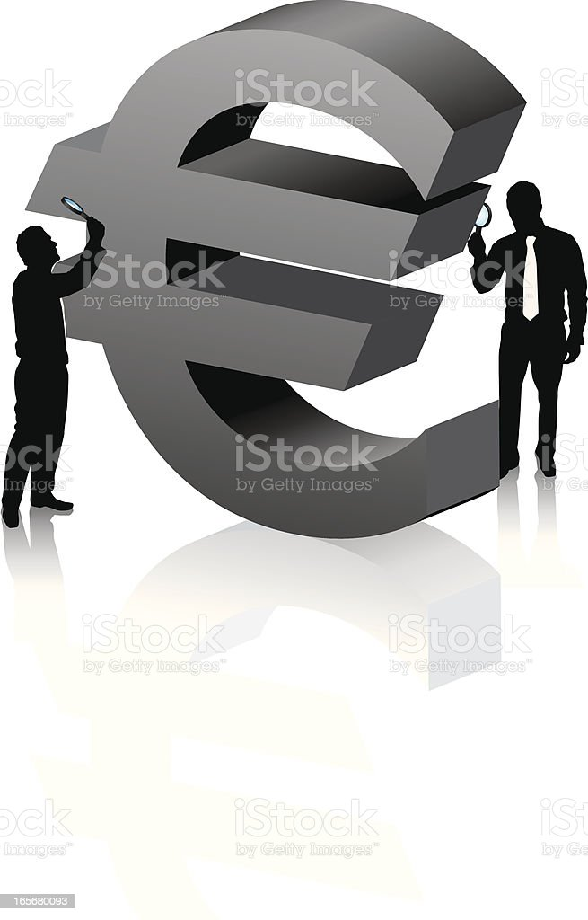 Magnifying euro big royalty-free stock vector art