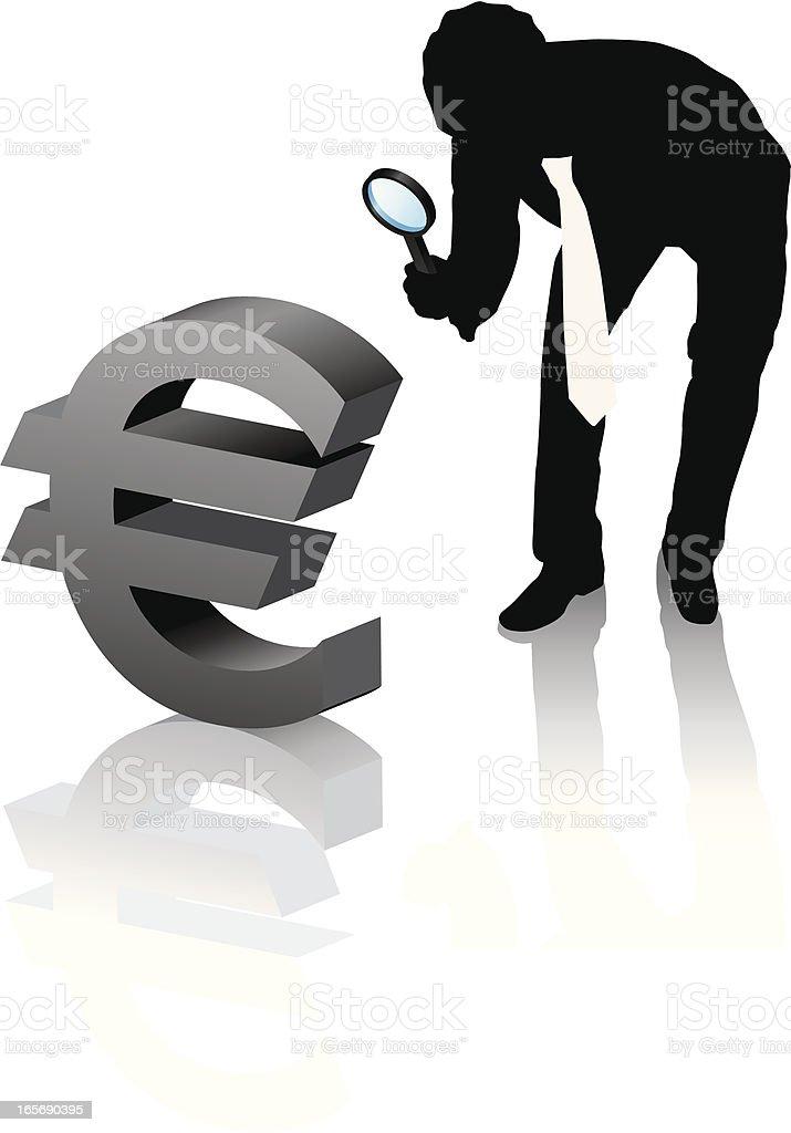 Magnifying euro small royalty-free stock vector art