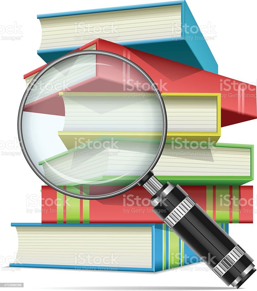Magnifying glass and books vector art illustration