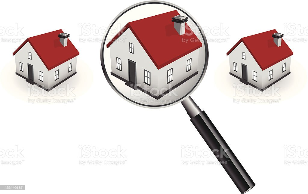 Magnifying glass and house vector art illustration
