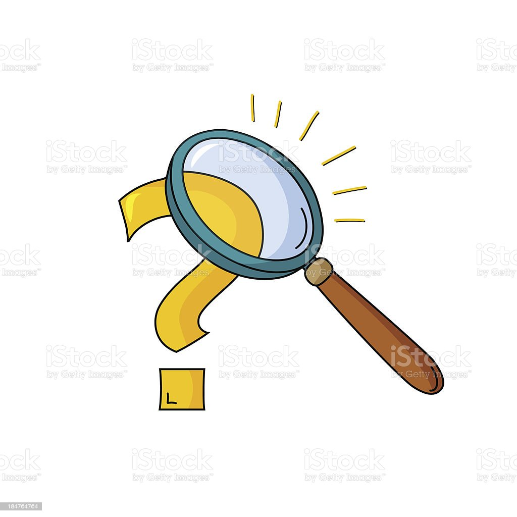 Magnifying glass and question royalty-free stock vector art