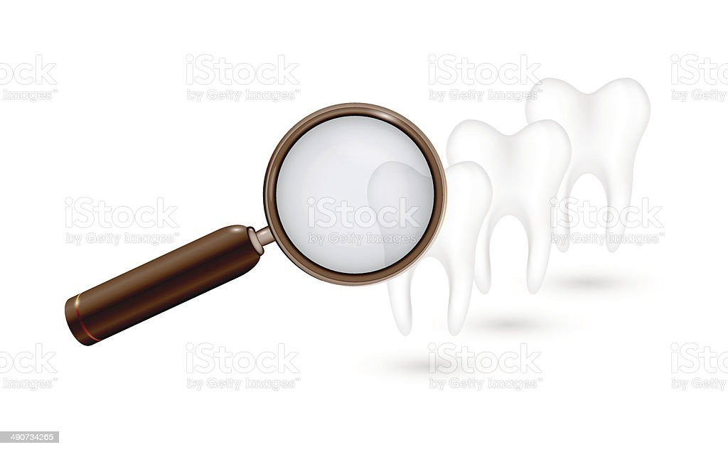 magnifying glass and white teeth royalty-free stock vector art