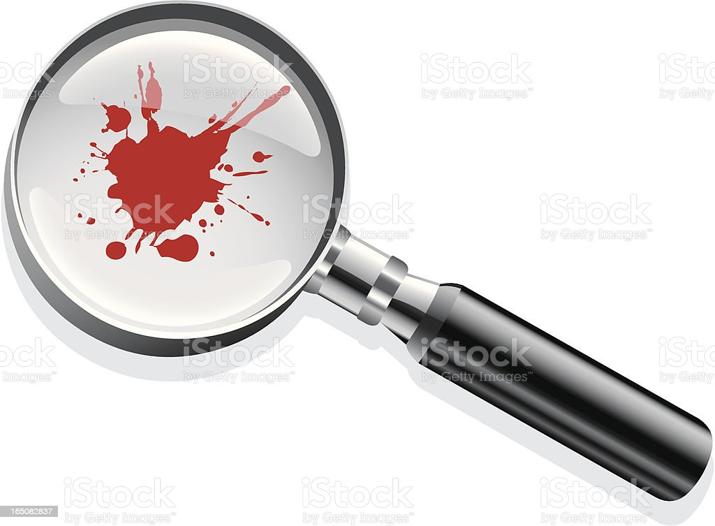 Magnifying glass blood vector art illustration