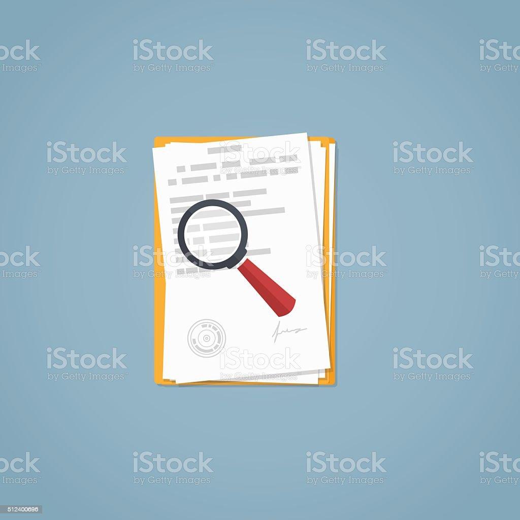 Magnifying glass documents vector art illustration