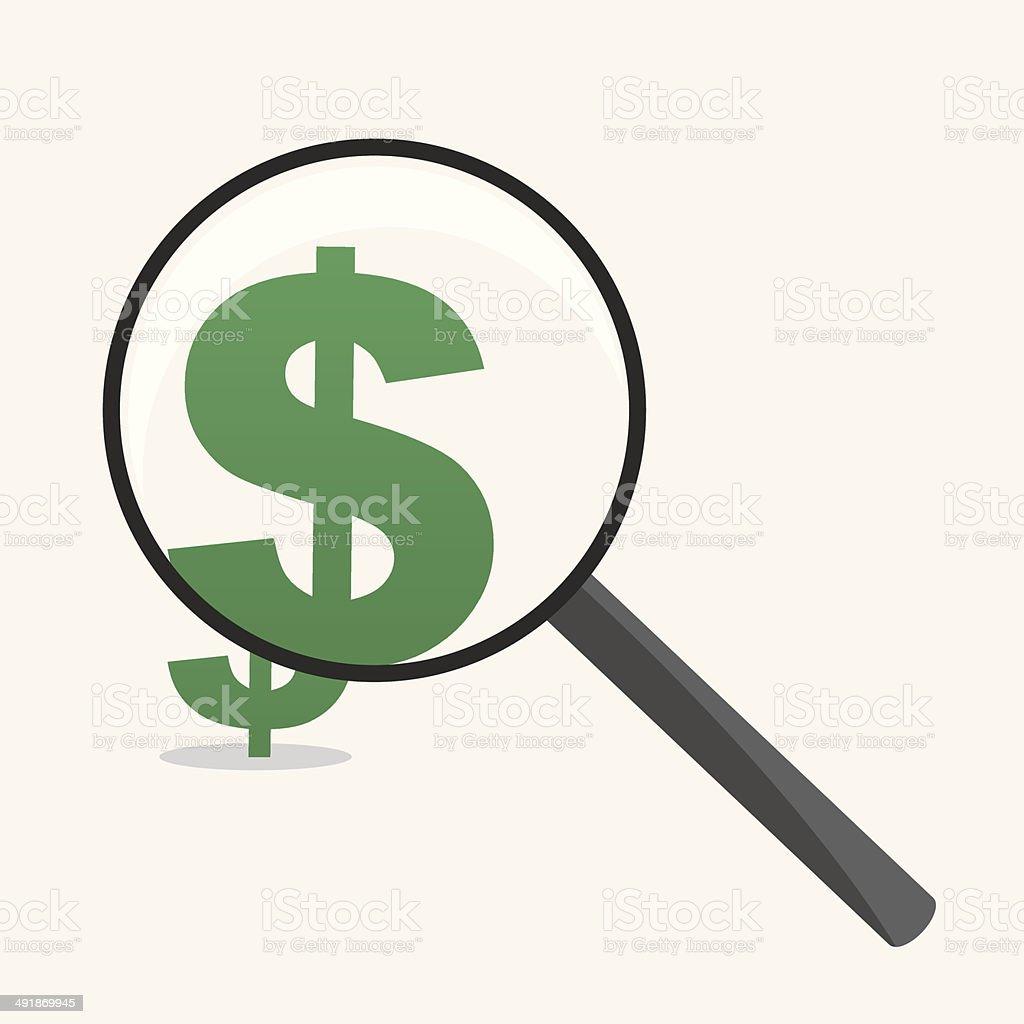 Magnifying Glass Dollar Sign vector art illustration