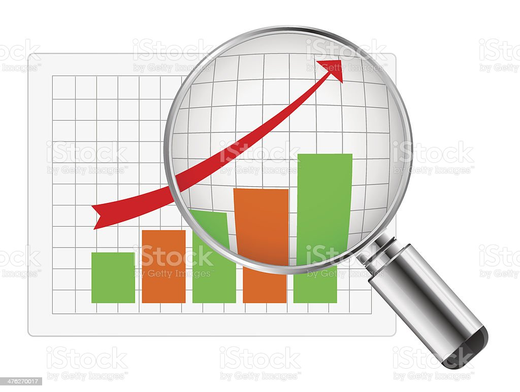 Magnifying glass graph royalty-free stock vector art