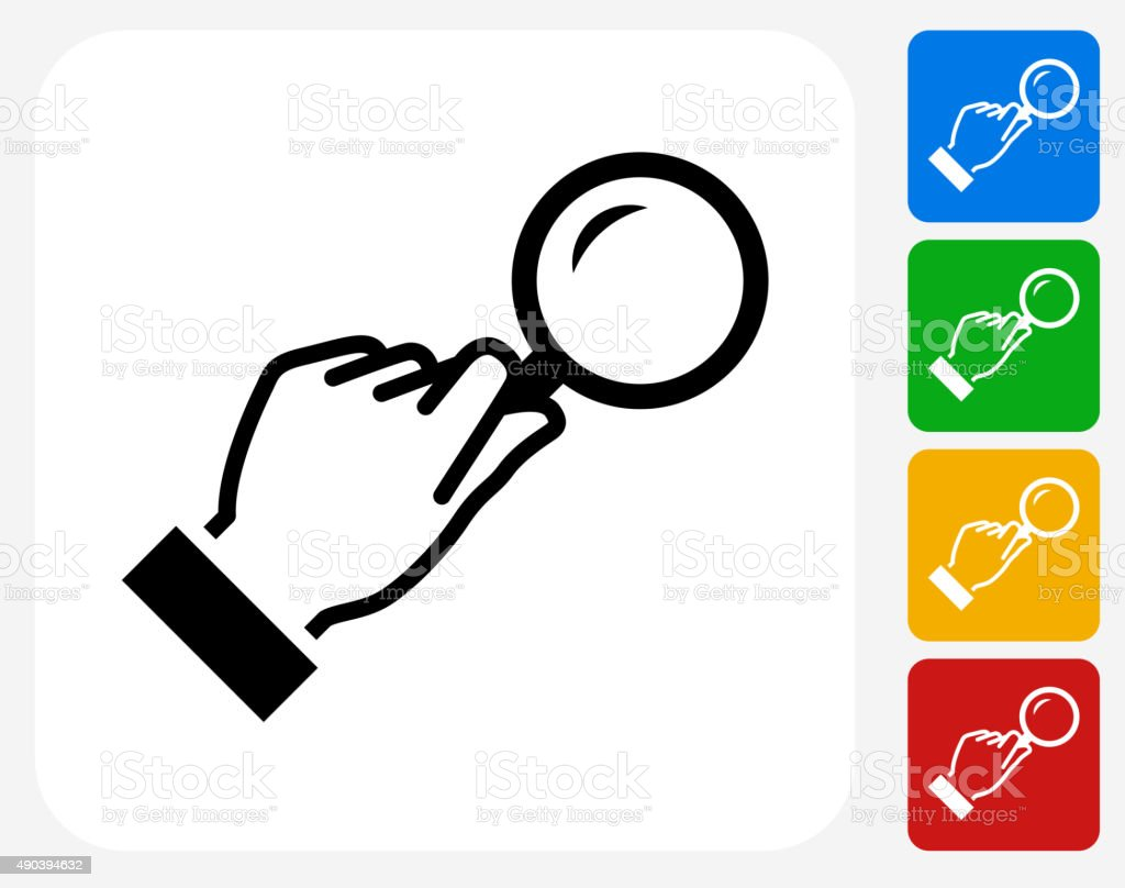 Magnifying Glass Icon Flat Graphic Design vector art illustration