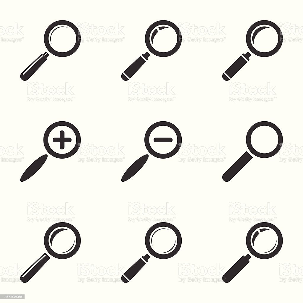 Magnifying Glass Icon Set. Zoom, Search, Find. Vector vector art illustration