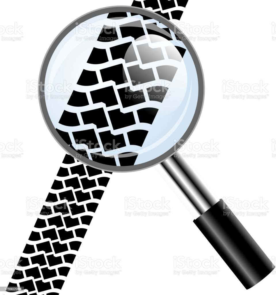 Magnifying glass icon, trail tires royalty-free stock vector art