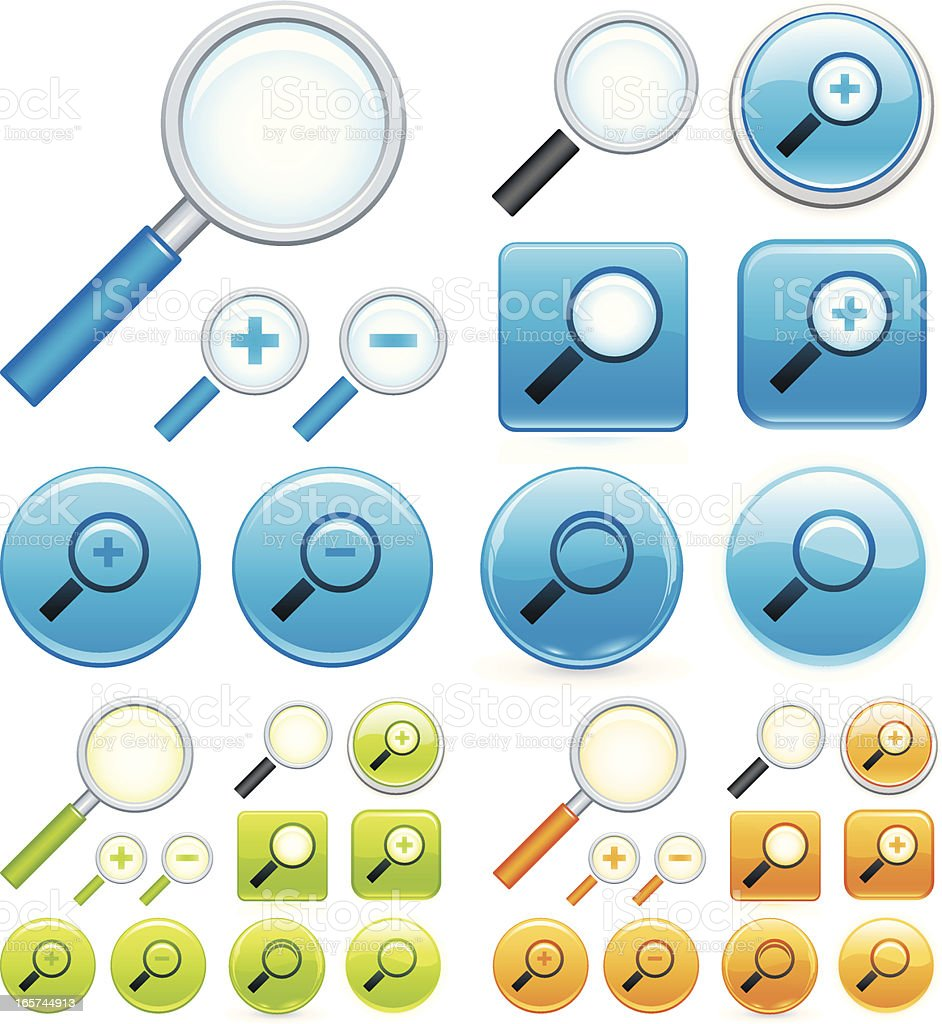 Magnifying glass icons vector art illustration
