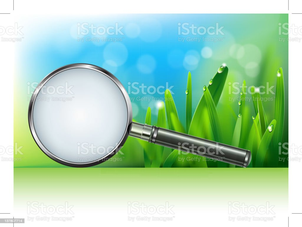 magnifying glass in the grass royalty-free stock vector art