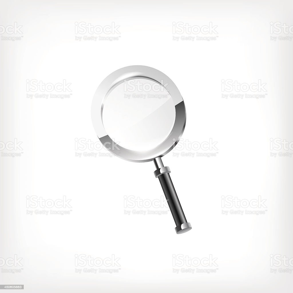 Magnifying glass isolated on white backgroun royalty-free stock vector art