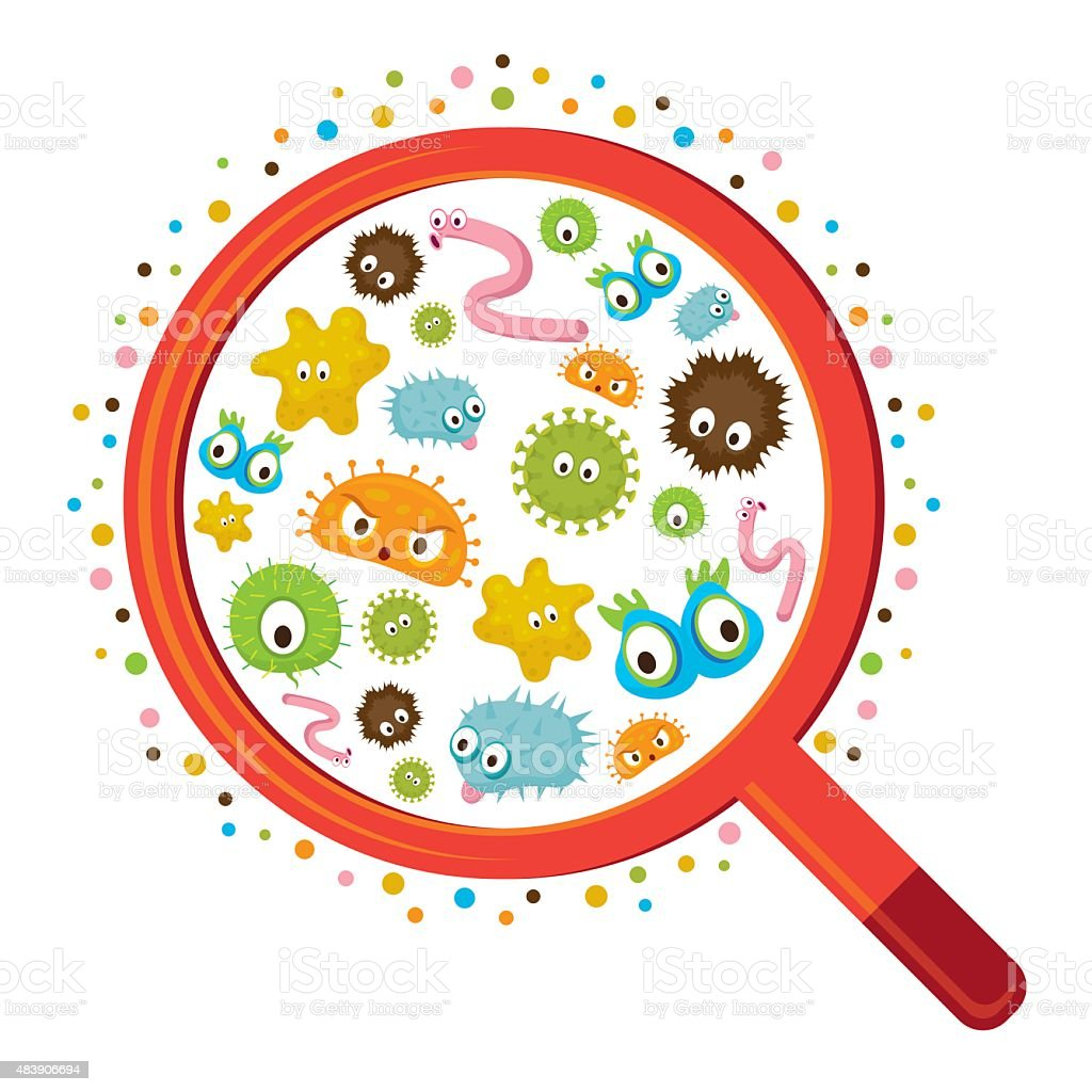 Magnifying Glass look through Germ vector art illustration