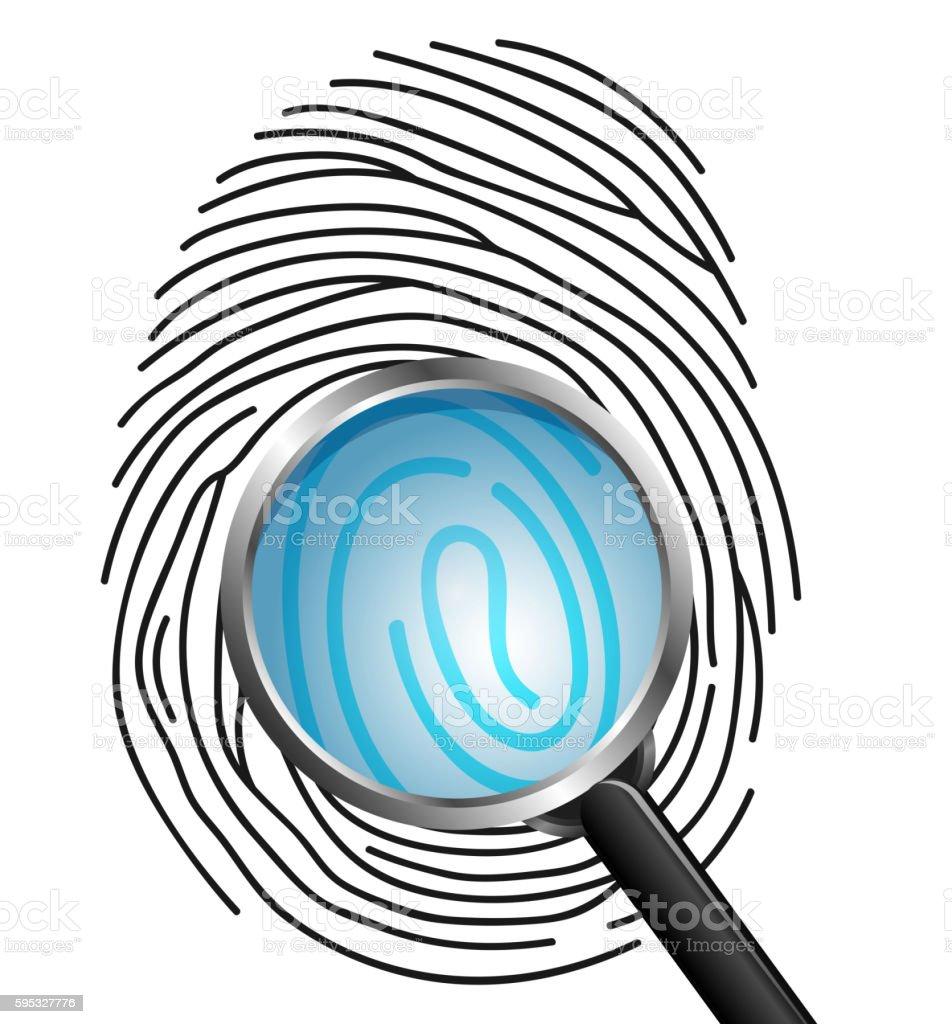 Magnifying glass on Fingerprint isolated on white background vector art illustration