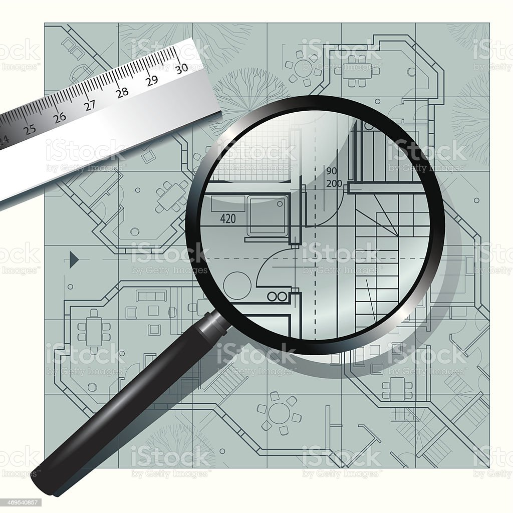 Magnifying glass on the architectural project vector art illustration