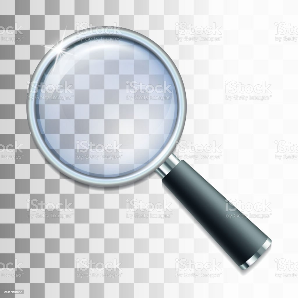 Magnifying glass on transparent background. vector art illustration