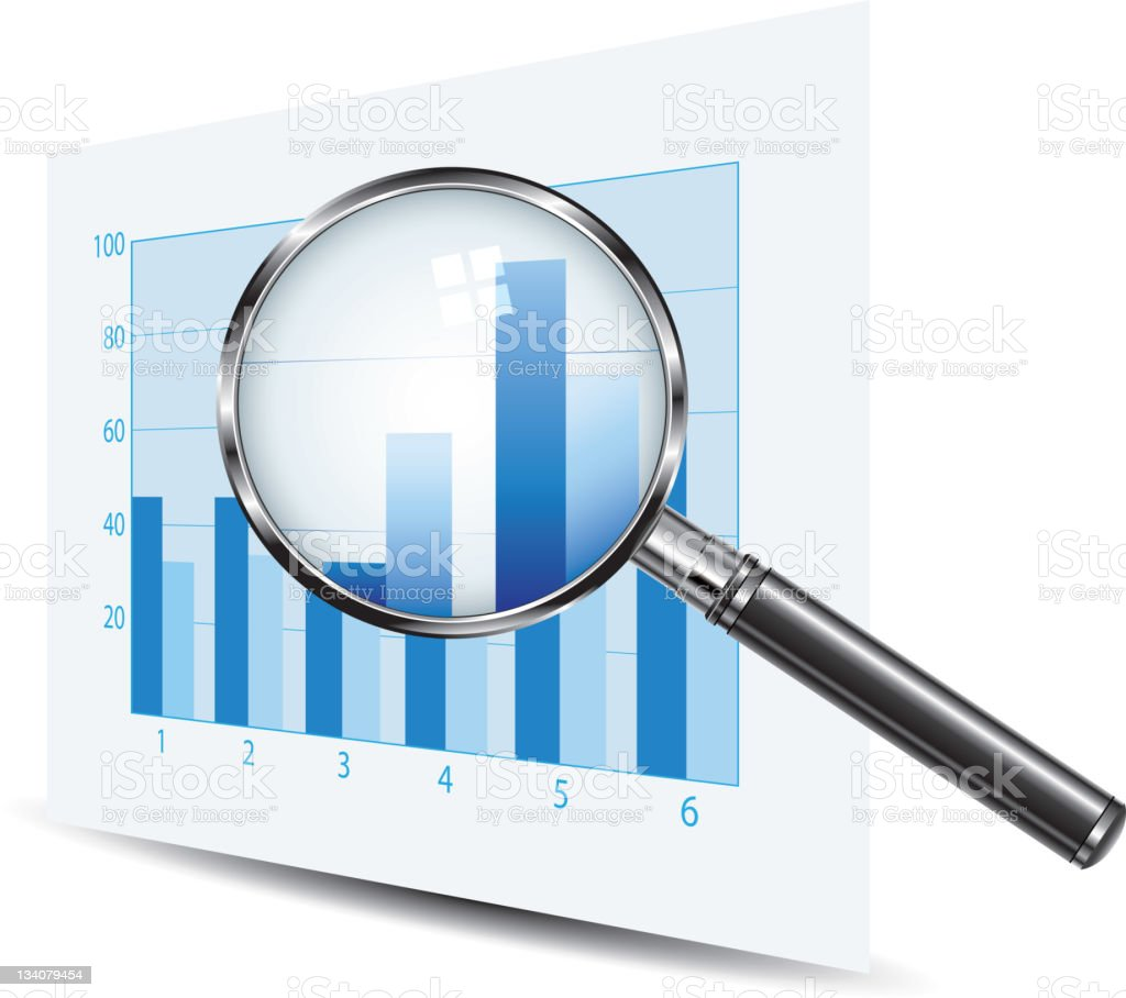 Magnifying glass over a blue bar chart royalty-free stock vector art