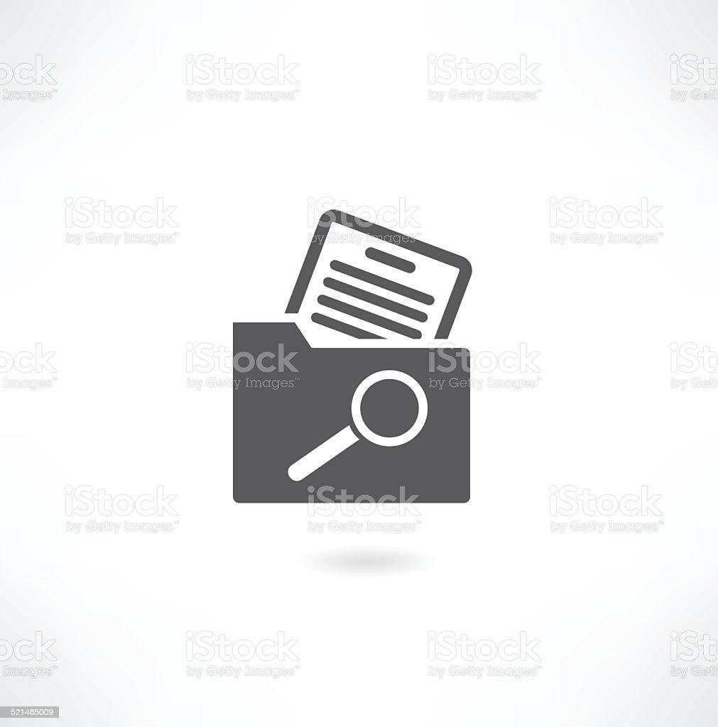 Magnifying glass over the folders. vector art illustration