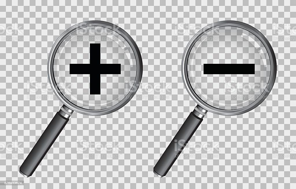 magnifying glass plus and minus vector art illustration