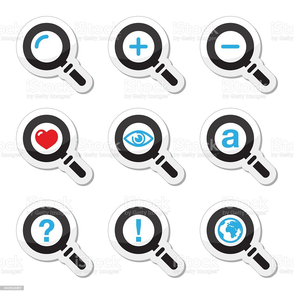 Magnifying glass, search icons set vector art illustration