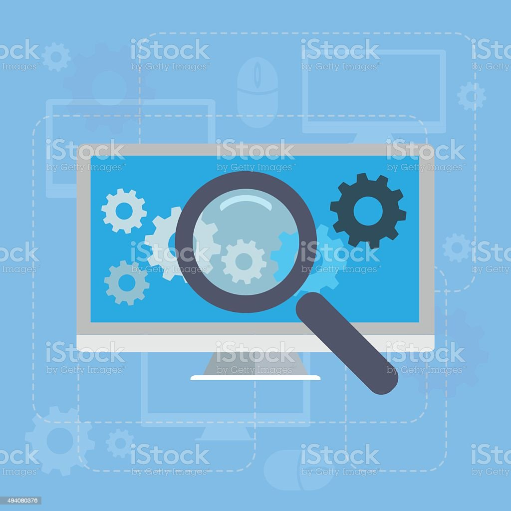 Magnifying glass search network concept illustration vector art illustration