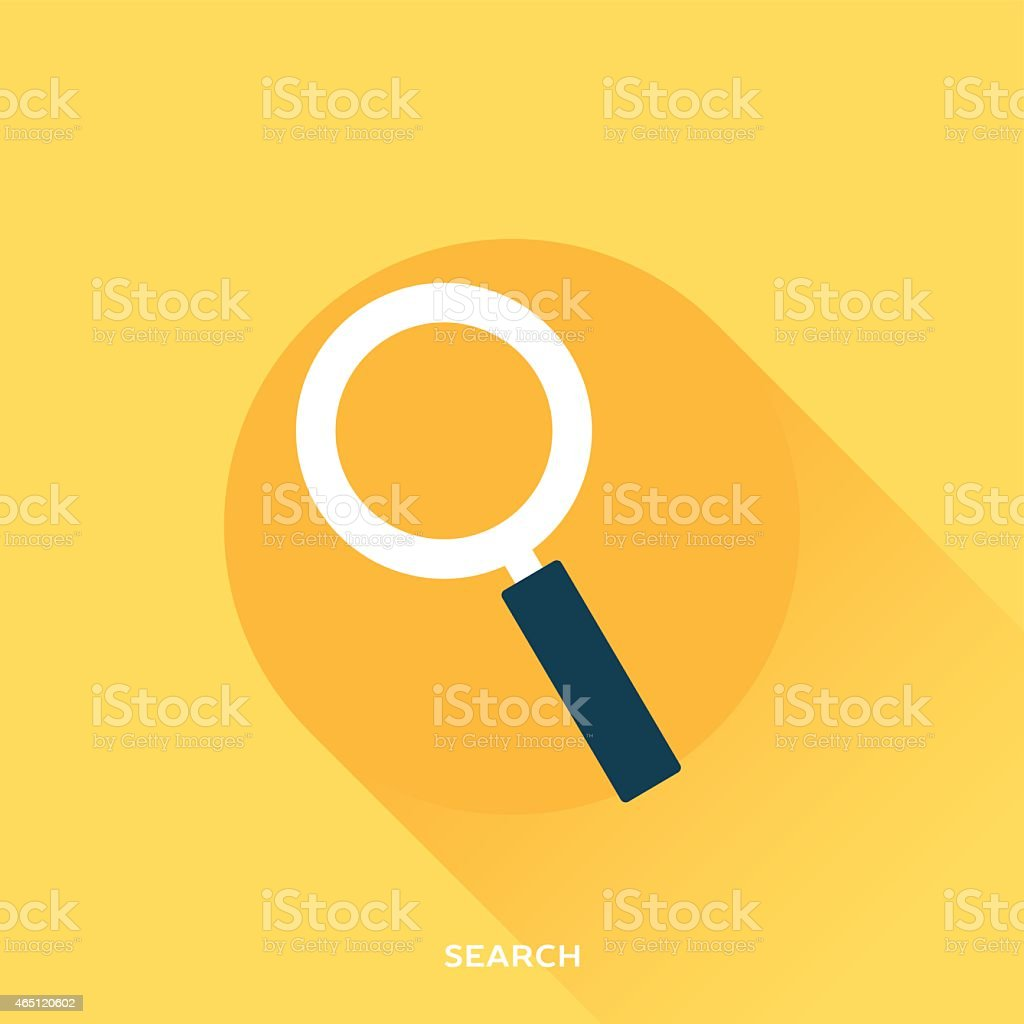 A magnifying glass searching an orange background vector art illustration