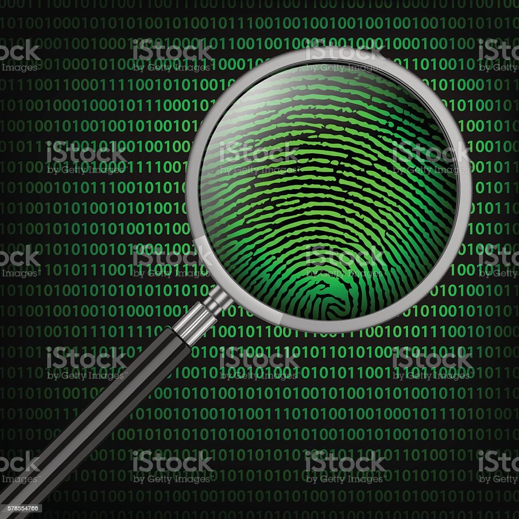Magnifying Glass searching code for on-line activity vector art illustration