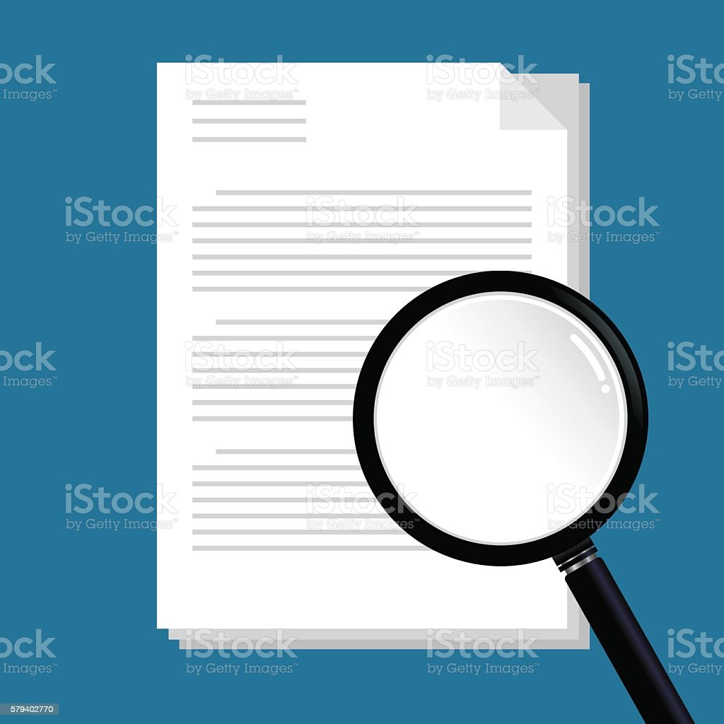 Magnifying Glass Searching Document Paper vector art illustration