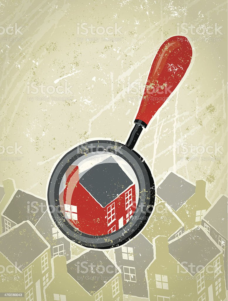 Magnifying Glass Searching for a Dream Home vector art illustration