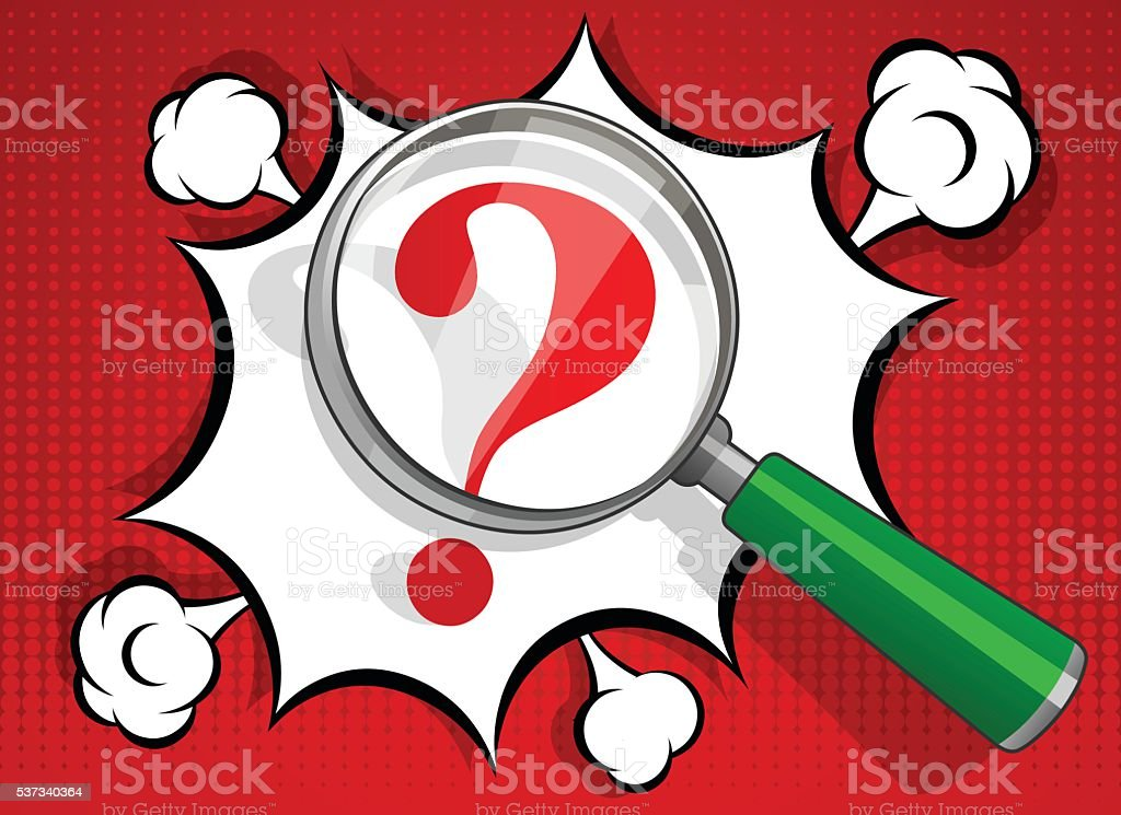 Magnifying glass with business question vector art illustration