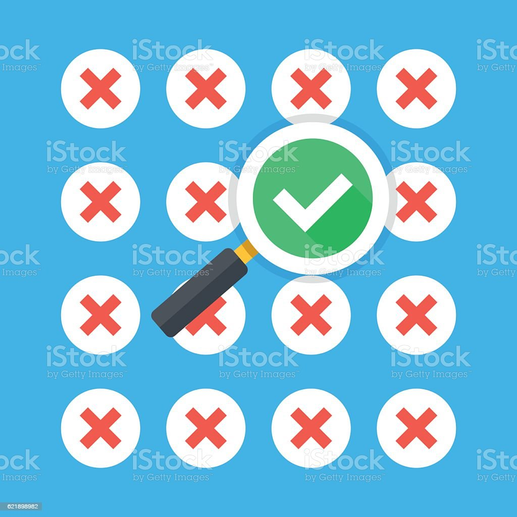 Magnifying glass with tick checkmark icon, many red crosses icons vector art illustration