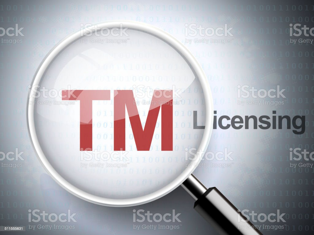 magnifying glass with trademark icon vector art illustration