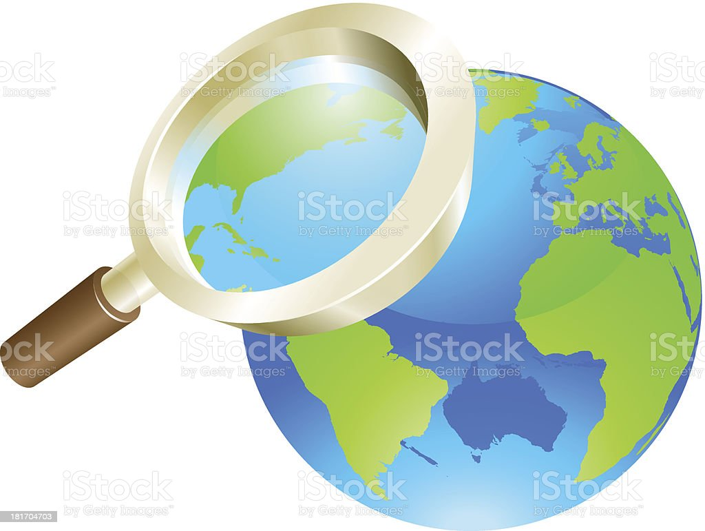 Magnifying glass world earth globe concept royalty-free stock vector art