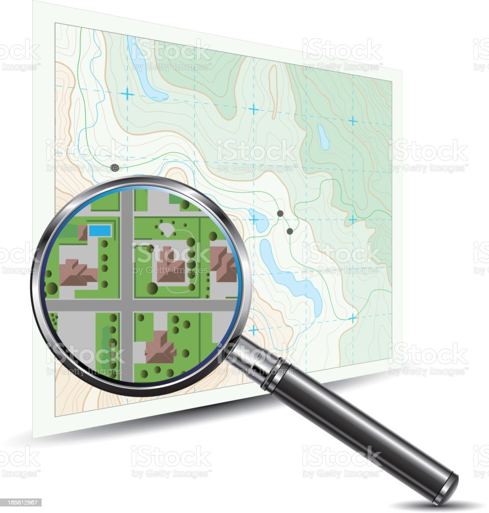 A magnifying glass zooming in on a topographic map  royalty-free stock vector art