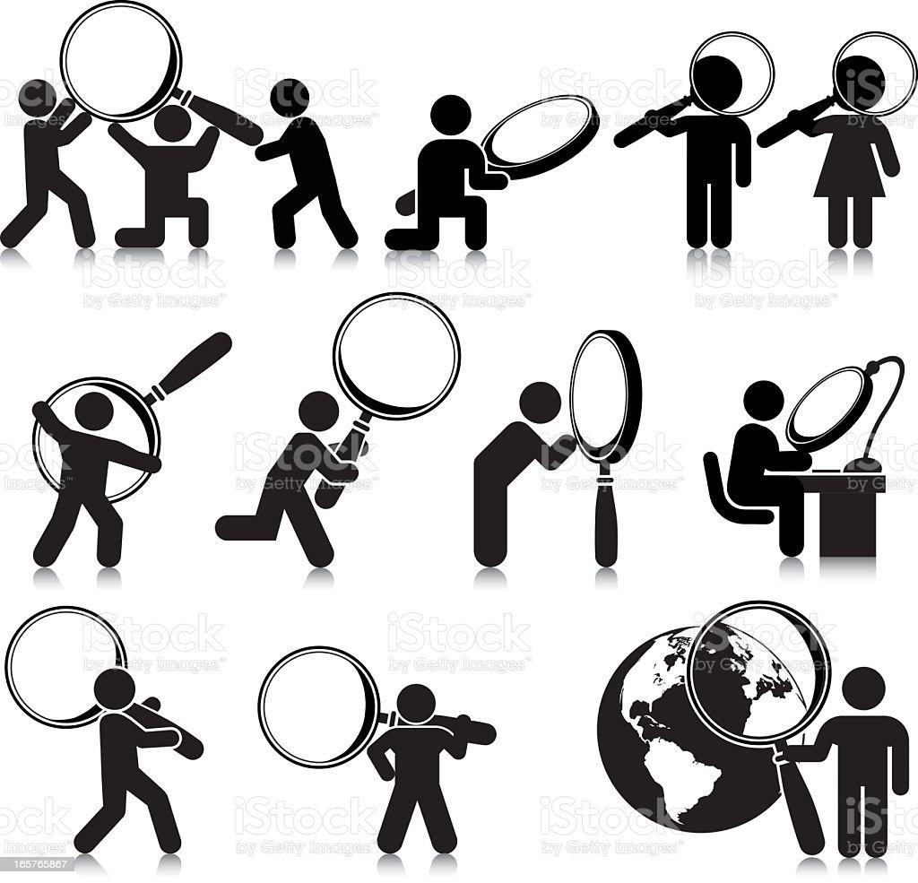 Magnifying Men vector art illustration