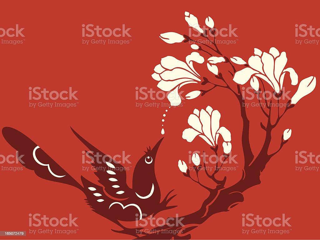 Magnolia & Bird Delight royalty-free stock vector art