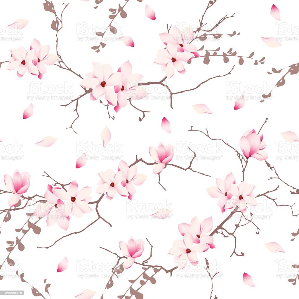 Magnolia blossom trees seamless vector pattern vector art illustration