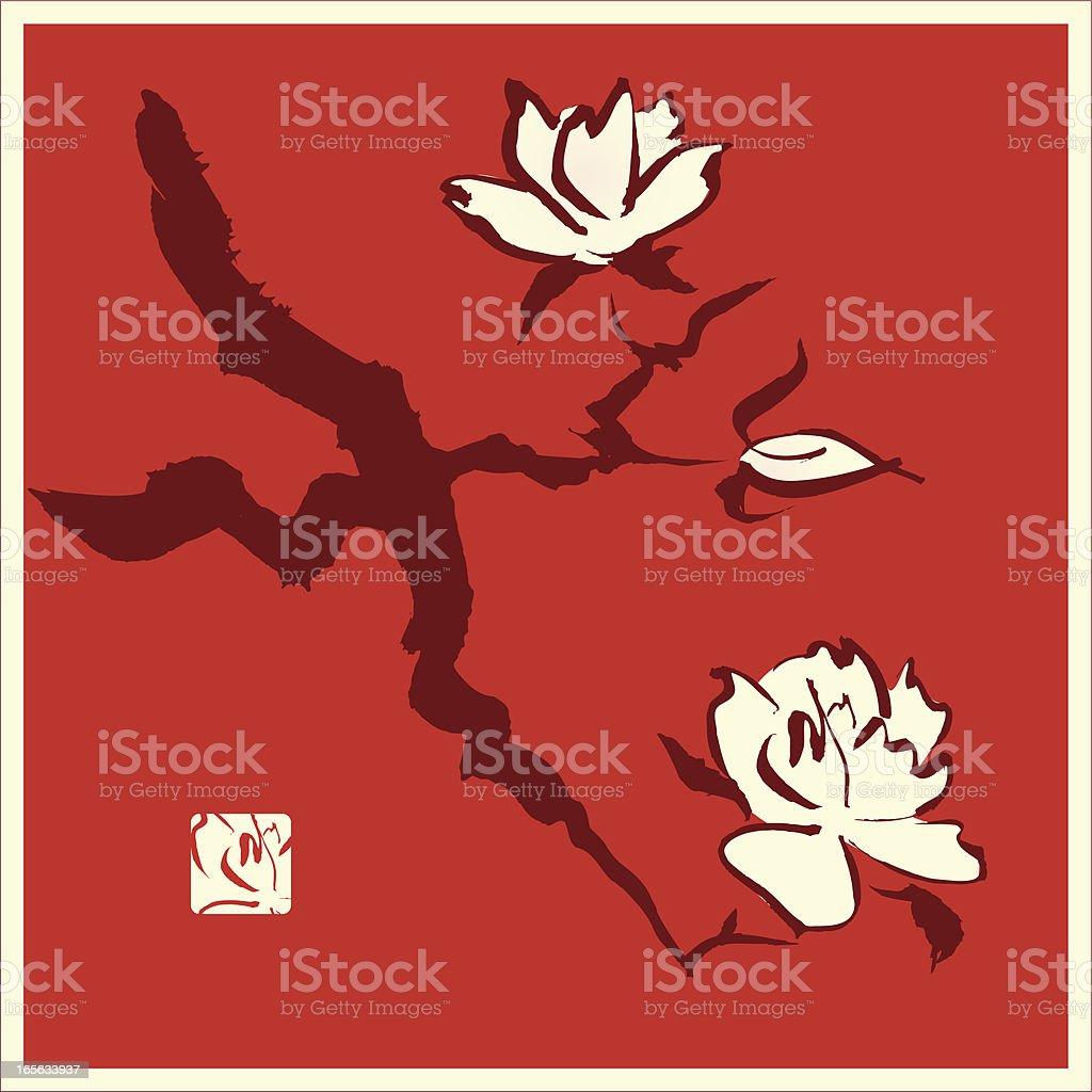Magnolia / Cherry Blossom Branch royalty-free stock vector art