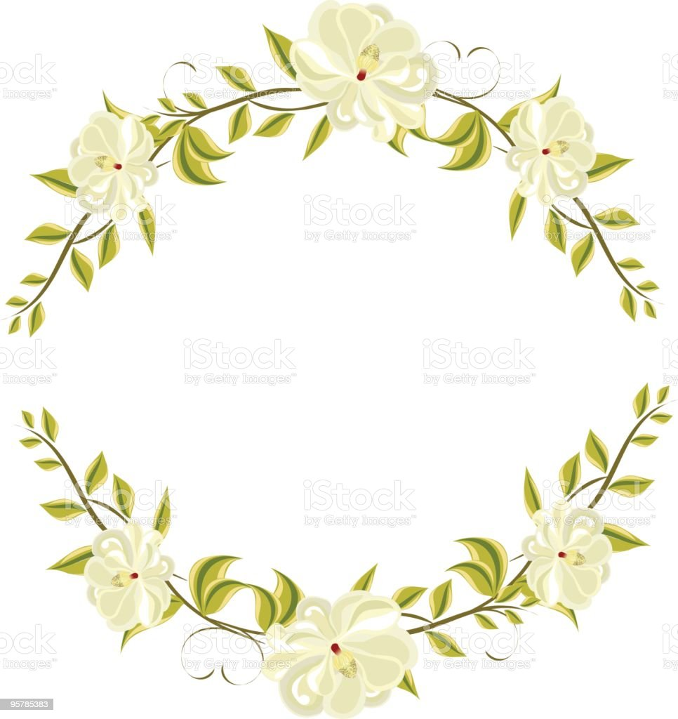 magnolia circluar frame royalty-free stock vector art