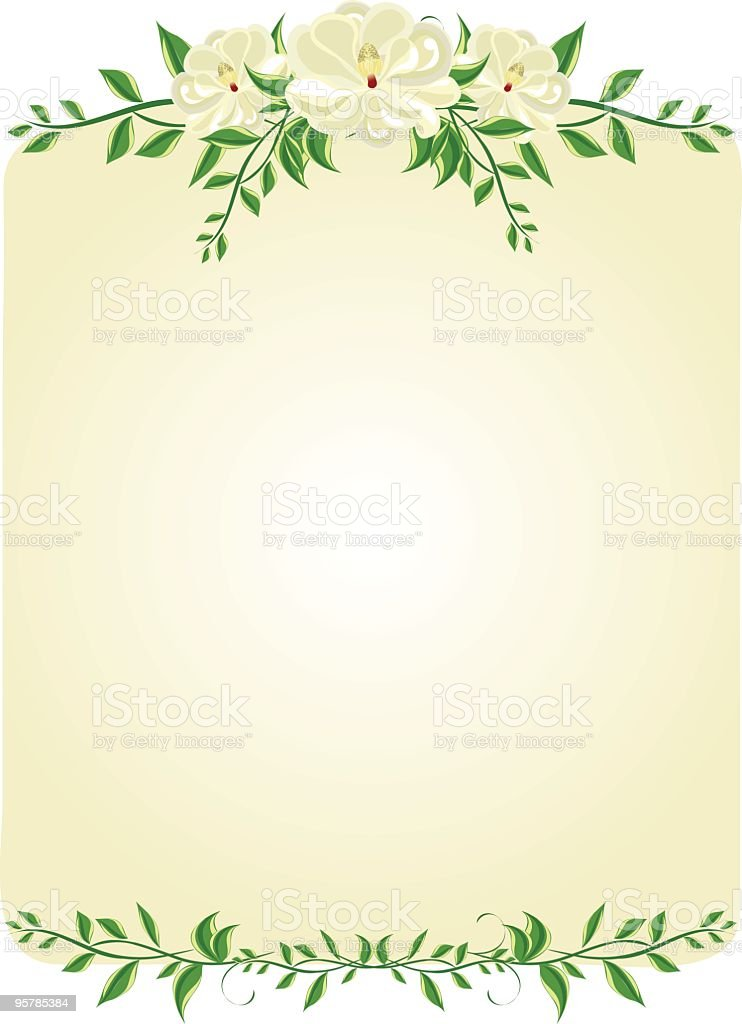 Magnolia Floral Scroll Background royalty-free stock vector art