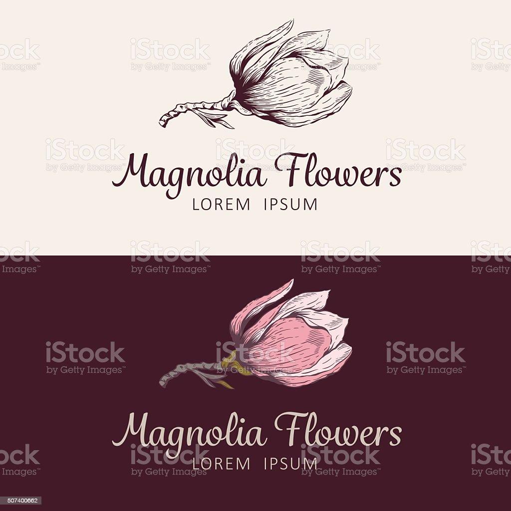 Magnolia flower logo vector art illustration