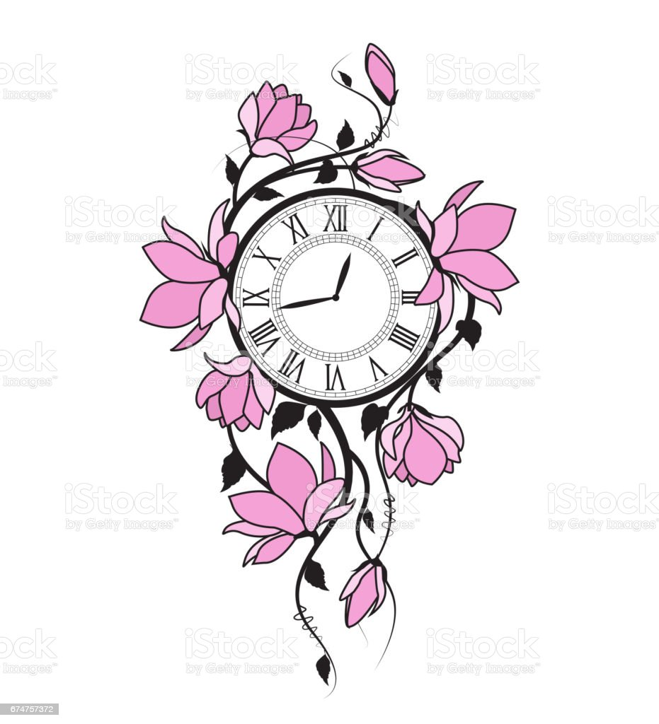 Magnolia flowers and clock vector art illustration