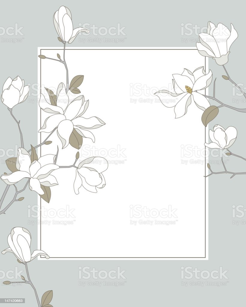 Magnolia Frame Background royalty-free stock vector art