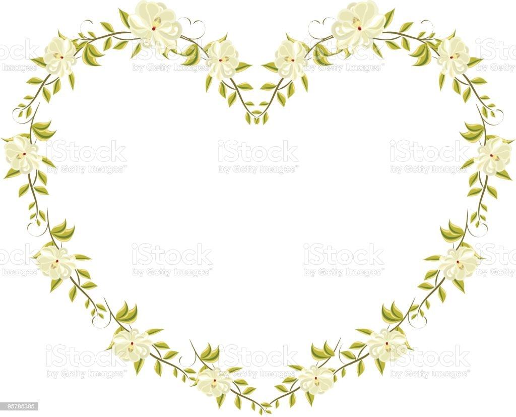 Magnolia heart floral vector art illustration