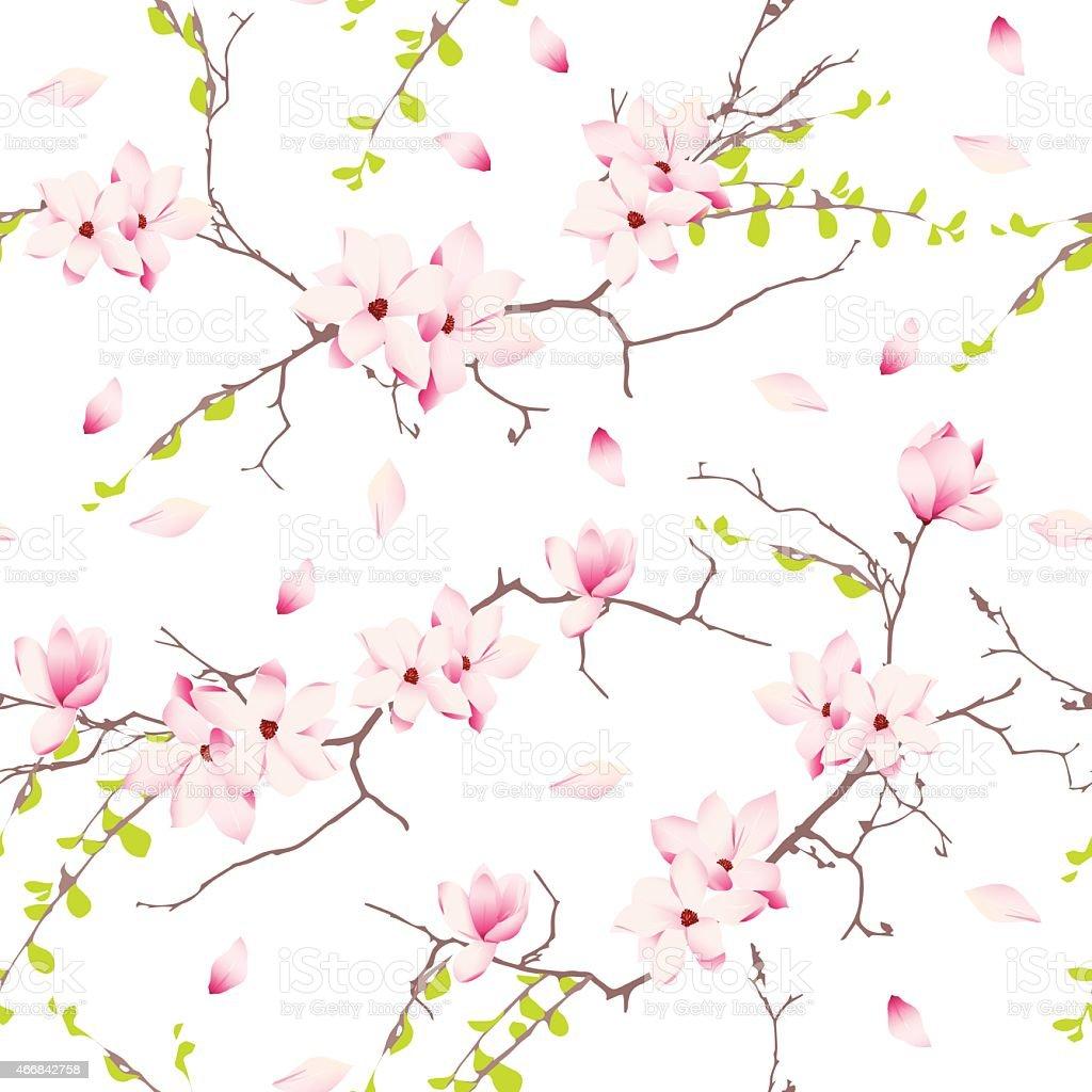 Magnolia spring trees seamless vector print vector art illustration