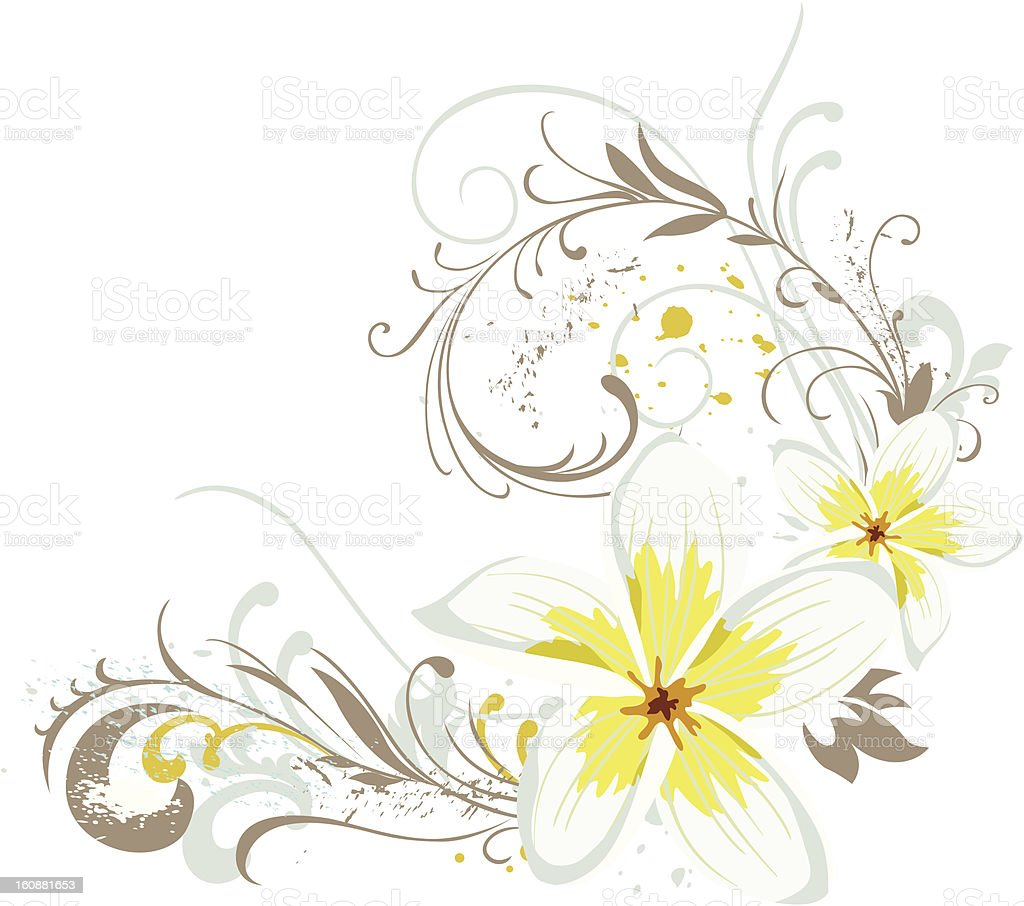 Magnolia with Swirls vector art illustration