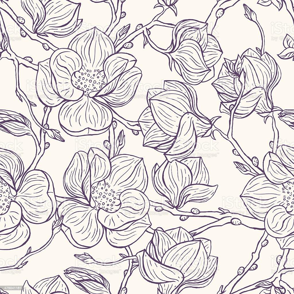 magnolias vector art illustration